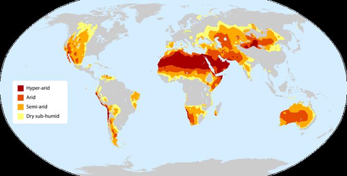 מפת אזורים צחיחים בעולם